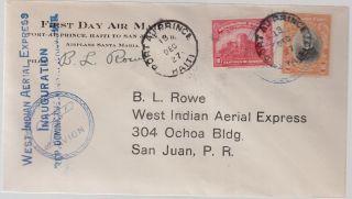 1928 Haiti First Flight Cover To Puerto Rico Bernard Rowe photo