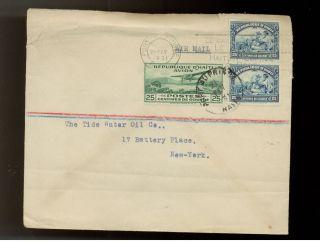 1931 Haiti Airmail Cover To Tide Watrer Oil Company Usa photo