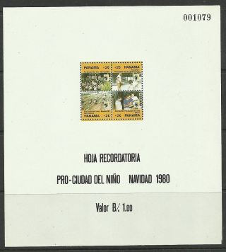 Panama.  1980.  Obligatory Tax - Childrens Village Miniature Sheet.  Sg: Ms1284. . photo