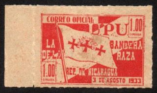 1933 Nicaragua - No.  O331 (a43) $1.  00 - Red - Hinged,  Gum photo