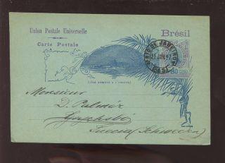 Brazil 1897 Illustrated Stationery Vfu To Sweden photo