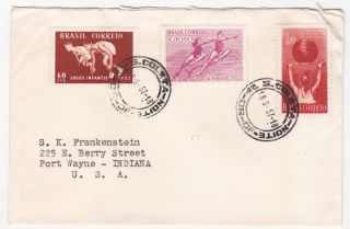 Brazil Coleta To Us 1957 Multifranked Cover With Sports Issues photo