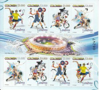 Colombia 2012 London Olympics 8v Sheet Tennis Boxing Football Games Judo photo