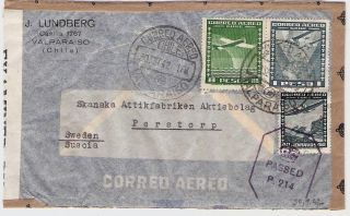 Chile Airmail 1942 Cover To Sweden Double Censor photo