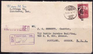 Mex 1935 Registered W/one Sunburst Seal Zacatecas To Oregon (ps234) photo