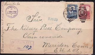 Mex 1924 Registered W/one Sunburst Seal Jalpa,  Zac.  To Conn.  (ps235) photo