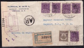 Mex 1942 Registered,  Censored,  Ar W/two Sunburst Seal Mex To Usa (ps237) photo
