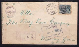 Mex 1942 Registered,  W/one Sunburst Seal Jalpa,  Zac.  To Conn (ps238) photo