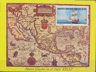 Mexico.  (1979) Nueva España Map.  Mini Sheet Stamp. . photo