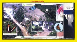 Argentina Argentine 2014 Iguazu Waterfall Birds Butterfly Flower Minisheet Pack photo
