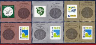 13 - 13v4 Brazil 2011 2012 2013 - Stamp On Stamp,  Bull ' S Eye,  Brasiliana, photo