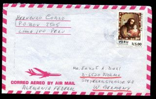 Peru 1980 ' S Air Mail Cover To Germany C6981 photo