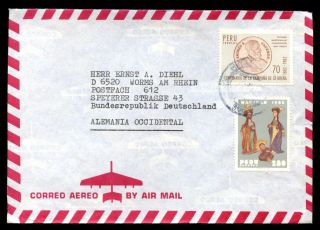 Peru 1980 ' S Air Mail Cover To Germany C6970 photo