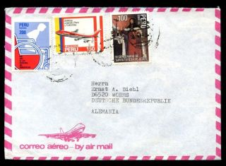 Peru 1980 ' S Air Mail Cover To Germany C6980 photo
