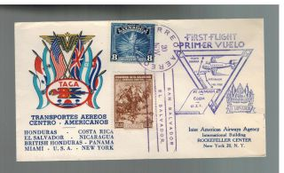 1943 El Salvador Taca Airlines First Flight Cover Ffc To Usa photo