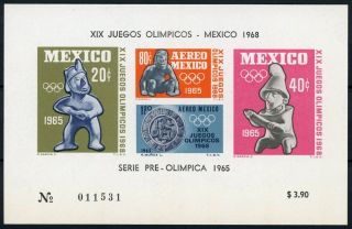 Mexico Souvenir Sheet Airmail S/s Air 3.  5 X 5.  5