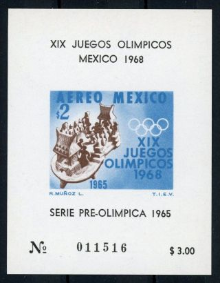 Mexico Souvenir Sheet Airmail S/s Air 1968 Olympics Sport photo