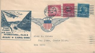 1929 Fam 5 - 1 Miami - Canal Zone Charles Lindbergh Pilot / Costa Rica On Cover photo