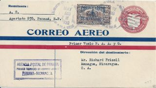 1929 Panama - Nicaragua Ff Franked Postal Stationery Cover photo