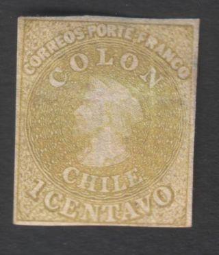Chile (1) 1861 - 62,  1 Cent,  Imperf.  Wmk A,  Last Of London,  Yvert 7,  Scott 11 photo