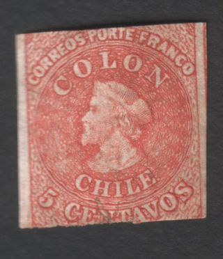 Chile (1) 1866 - 67,  5 Cents,  Imperf.  Wmk D,  Last Of Santiago,  Yvert 8,  Scott 14 photo