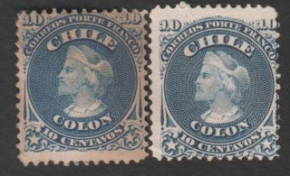 Chile (2) 1867,  10 Cents,  Perf.  12,  Unwmk,  Yvert 14,  Scott 18