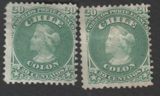 Chile (2) 1867,  20 Cents,  Perf.  12,  Unwmk,  Yvert 15,  Scott 19