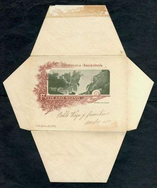 1900 Argentina Iguazu Falls Picture Printed Inside Vintage Postal Stationery photo