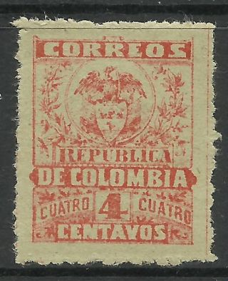 Colombia - 1000 Days War.  1902.  4c Red On Green,  Bogota Provisional.  Pin Perf.  Mh. photo