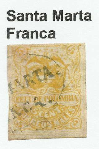 Colombia.  1870.  5c Yellow.  Sg: 62a.  Pre - - Philatelic