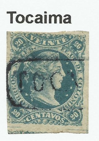 Colombia.  1877.  20c Greenish Blue.  Sg: 86.