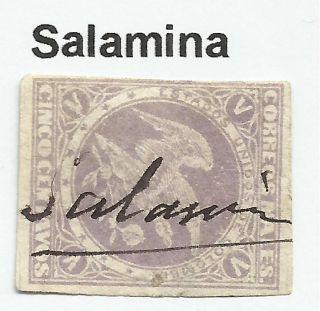 Colombia.  1877.  5c Mauve.  Sg: 84a.  Fine