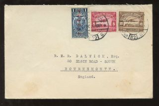 Ecuador 1930 Postal Fiscal + Airmail Franking To Bournemouth Gb photo