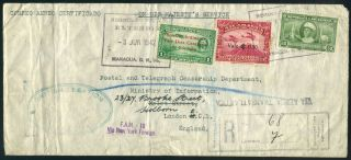 Nicaragua 1942 Wwii Ohms Northern Transatlantic Flight Cover To England Via Usa photo