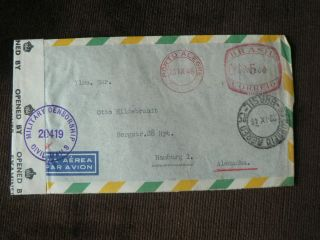 1946 Brazil - Hamburg Airmail Cover: Opened By Examiner 2364 Military Censorship photo