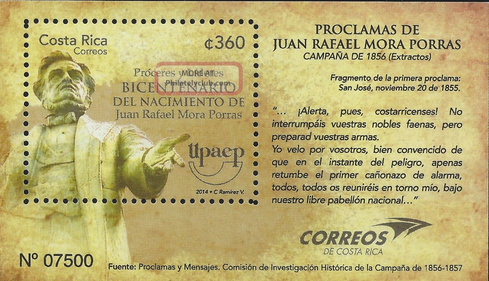 Costa Rica Upaep Bicentenary Of Juan Rafael Mora Porras 2014 Latin America photo