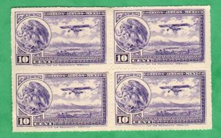 Mexico,  Scott C21,  Block Of Four,  Issued 1930 - 32 photo