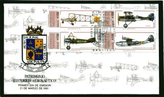 Chile 1991 3 Fdcs Old Airplanes + Carabineros + Balmaceda photo