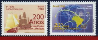 8 - 5 Brazil 2008 - Opening Of The Ports Foreign Trade 200 Years,  Ships,  Maps, photo