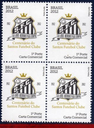 12 - 04q Brazil 2012 - Centenary Santos,  Football/soccer,  Famous Clubs,  Block photo
