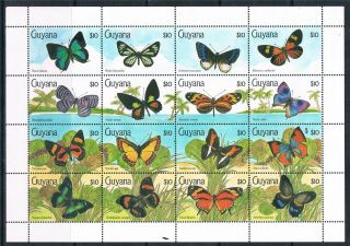 Guyana 1990 Butterflies 16v Sg 2827/42 photo