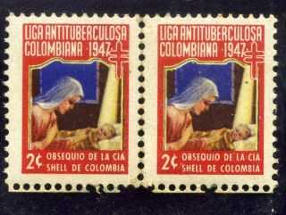 Liga Lac Maternidad,  - Pair Hor.  Cinderellas Colombia 1947 photo