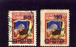 Liga Lac Maternidad,  - Pair Hor.  Cinderellas Colombia 1949 Ovptd photo