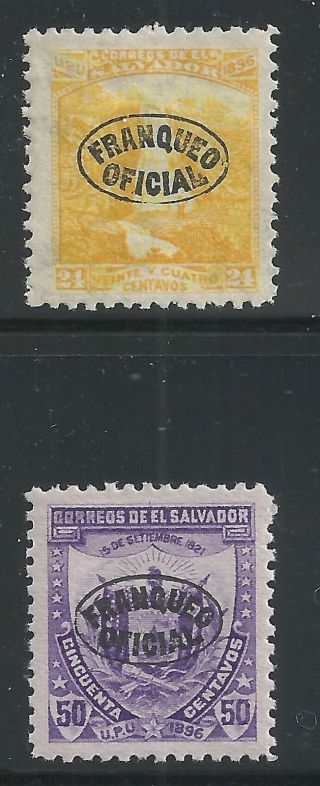 El Salvador Scott O87 & O89,  Singles 1897 Fvf Mh photo