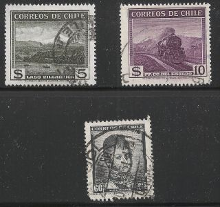 Chile Scott 208 - 09 & 252,  Singles 1938 - 48 Fvf photo