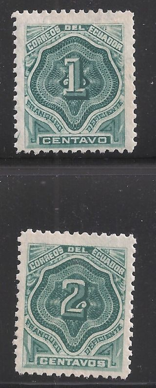 Ecuador Scott J1 - 2,  Singles 1896 Fvf Mh photo
