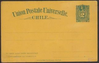 Chile 1884/87 2c Columbus Postal Stationery Card,  H&g 10,  G/f photo