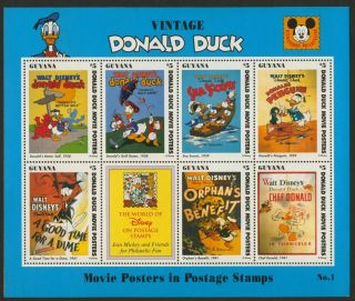 Guyana 2769a Disney Vintage Donald Duck,  Movie Posters photo
