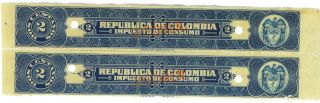 2 Republica De Colombia 2c C 1940 Fiscals W/ Specimen Ovpt Impuestos Consumo photo