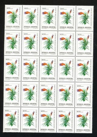 Republic Of Argentina 400 Pesos.  Block Of 25.  Flowers Theme (sh38) Post photo